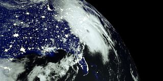 Extremely detailed and realistic high resolution 3D illustration of a Hurricane at Night hitting the US East Coast. Shot from Spac Stock Illustration