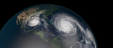 Extremely detailed and realistic high resolution 3d illustration of 3 hurricanes approaching the Caribbean Islands and Florida. Shot from Space. Elements of royalty free illustration