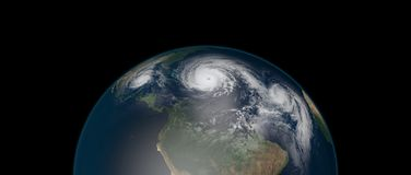 Extremely detailed and realistic high resolution 3d illustration of 3 hurricanes approaching the Caribbean Islands and Florida. Shot from Space. Elements of vector illustration