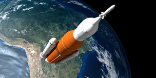 Extremely detailed and realistic high resolution 3D illustration of a Space Launch System SLS Rocket. Shot from Space. Stock Photos