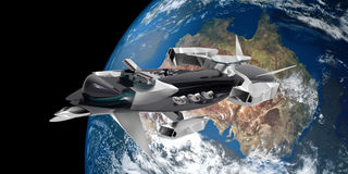 Extremely detailed and realistic high resolution 3D illustration of a space ship flying from Australia to space. Royalty Free Stock Photos