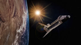 Extremely detailed and realistic high resolution 3D illustration of a space shuttle orbiting Earth. Shot from space Stock Photo