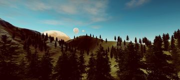 Extremely detailed and realistic high resolution 3d illustration of an earth like exoplanet royalty free illustration