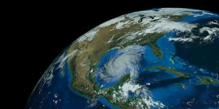 Extremely detailed and realistic high resolution 3D image of a hurricane approaching the USA. Shot from Space. Elements of this image have been furnished by vector illustration