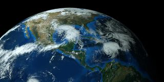Extremely detailed and realistic high resolution 3D image of a hurricane approaching the USA. Shot from Space. Elements of this image have been furnished by stock illustration