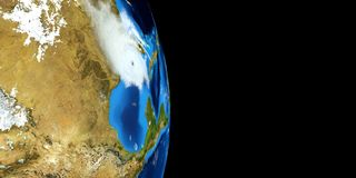 Extremely detailed and realistic high resolution 3D illustration of a Hurricane. Shot from Space. Elements of this image are furni royalty free illustration