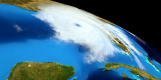 Extremely detailed and realistic high resolution 3D illustration of a Hurricane. Shot from Space. Elements of this image are furni royalty free stock photo