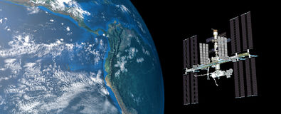 Extremely detailed and realistic high resolution 3D image of ISS International Space Station orbiting Earth shot from outer space. Elements of this image are Royalty Free Stock Image