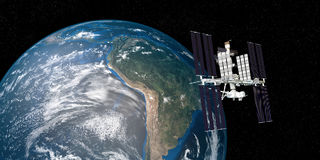 Extremely detailed and realistic high resolution 3D image of ISS International Space Station orbiting Earth shot from outer space. royalty free illustration