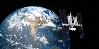Extremely detailed and realistic high resolution 3D image of ISS International Space Station orbiting Earth shot from outer space. Elements of this image are royalty free illustration