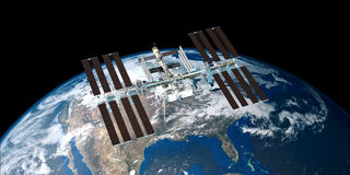 Extremely detailed and realistic high resolution 3D image of ISS International Space Station orbiting Earth shot from outer space. Royalty Free Stock Photos