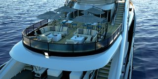 Extremely detailed and realistic high resolution 3D illustration of a luxury super yacht. Extremely detailed and realistic high resolution 3D image of a Royalty Free Stock Image