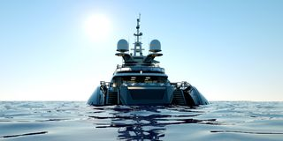Extremely detailed and realistic high resolution 3D illustration of a luxury super yacht. Extremely detailed and realistic high resolution 3D image of a Royalty Free Stock Photo
