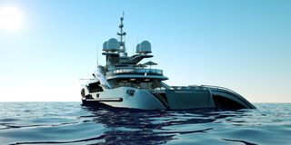 Extremely detailed and realistic high resolution 3D illustration of a luxury super yacht. Extremely detailed and realistic high resolution 3D image of a Stock Photography