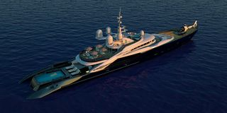Extremely detailed and realistic high resolution 3D illustration of a luxury super yacht. Extremely detailed and realistic high resolution 3D image of a Stock Photos