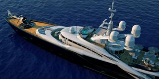 Extremely detailed and realistic high resolution 3D illustration of a luxury super yacht. Extremely detailed and realistic high resolution 3D image of a Royalty Free Stock Images