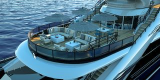 Extremely detailed and realistic high resolution 3D illustration of a luxury super yacht. Extremely detailed and realistic high resolution 3D image of a Stock Image