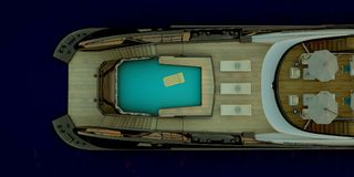 Extremely detailed and realistic high resolution 3d illustration of a luxury Mega Yacht. stock image