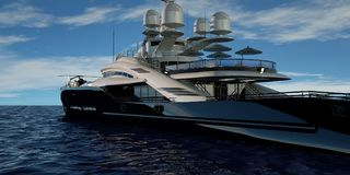 Extremely detailed and realistic high resolution 3D illustration of a luxury super yacht. royalty free illustration