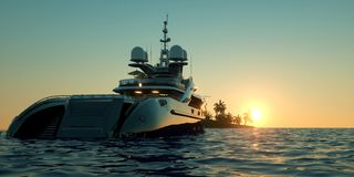 Extremely detailed and realistic high resolution 3D illustration of a Super Yacht approaching a tropical Island with palms Stock Image