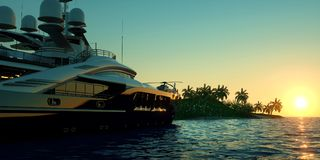 Extremely detailed and realistic high resolution 3D illustration of a Super Yacht approaching a tropical Island with palms Royalty Free Stock Image