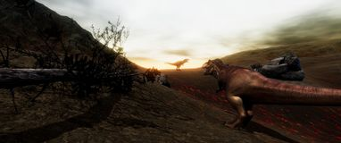 Extremely detailed and realistic high resolution 3d illustratation of a T-Rex Dinosaur during the Dinosaurs Extinction stock images