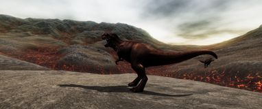 Extremely detailed and realistic high resolution 3d illustratation of a T-Rex Dinosaur during the Dinosaurs Extinction royalty free stock photos