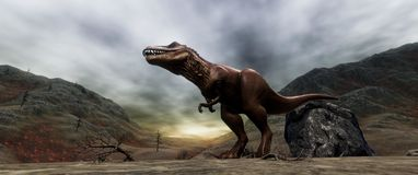 Extremely detailed and realistic high resolution 3d illustratation of a T-Rex Dinosaur during the Dinosaurs Extinction stock photo