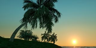 Extremely detailed and realistic high resolution 3D illustration of a tropical Island with palms Stock Photography