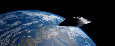 Extremely detailed and realistic high resolution 3D image of an UFO / flying saucer orbiting Earth shot from outer space. Elements of this image are furnished royalty free illustration