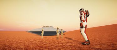 Extremely detailed and realistic high resolution 3d illustration of the Martian Landscape royalty free stock photography