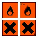 Extremely flammable and harmful sign set. Extremely flammable and harmful sign or symbol on orange rectangle. extremely flammable, harmful and irritant labels Stock Photography
