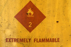 Extremely flammable sign. On old container Stock Images