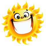 Extremely happy cartoon yellow sun excited character smiling. Shining yellow excited smiling sun cartoon character as good weather sign temperature Stock Photos