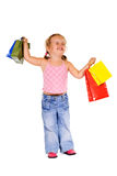 Extremely happy shopper girl Stock Photography