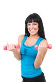 Extremely happy woman with dumbbells Royalty Free Stock Images