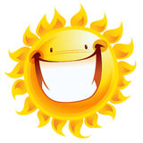 Extremely happy yellow smiling sun cartoon excited character Royalty Free Stock Images