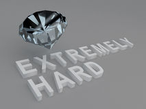 Extremely Hard concept. 3D illustration of EXTREMELY HARD title with a diamond as a background. Material concept Royalty Free Stock Photos