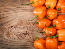 Extremely Hot Habanero Peppers on wooden background Stock Photo
