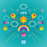 Extremely impressive card with cute birds, flowers, Sun, rainbow, raindrops Stock Photos