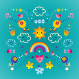Extremely impressive card with cute birds, flowers, Sun, rainbow, raindrops. Lovely nature theme set. Bright nature environment concept card Stock Images