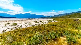 Extremely low water level in the Theewaterkloof Dam which is a major source for water supply to Cape Town. Extremely low water level in the Theewaterkloof Dam or royalty free stock photo