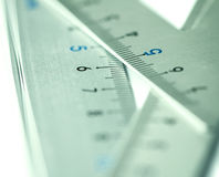 Extremely selective focus a part of silver precision measurement Royalty Free Stock Photos