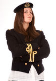 Extremely serious girl with officer uniform Royalty Free Stock Images