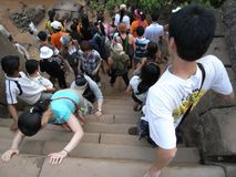 Extremely steep staircase at Phnom Bakheng, Angkor, at year 2008. Since the stair was replaced by decent wooden one with railing o. Siem Reap,Cambodia-March 9 stock photography