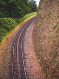 Extremely steep train tracks at Drachenfels, Königswinter, Germ Stock Image