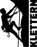 Extremer kletternder Mann mit deutschem Wort lizenzfreie abbildung