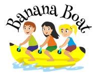 Extremer Sport des Bananenboots-Wassers, lokalisiertes Gestaltungselement für Sommerferien-Tätigkeitskonzept, Karikaturwellensurf Stockbild
