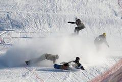 Extremes Snowboardingrennen Stockfotografie