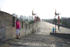 A extremidade de Xian City Wall Fotos de Stock Royalty Free